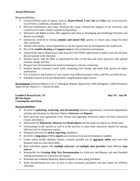 professional business objects developer resume template