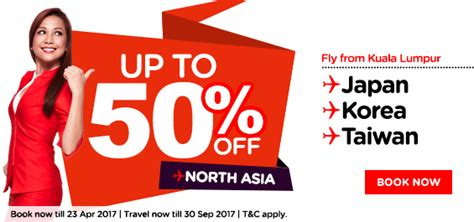 airasia promo tiket airasia air ticket promotion 50 off north asia flight