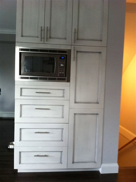 Custom Pantry Cabinet by Custom Pantry With Built In Microwave And Antique Brushed