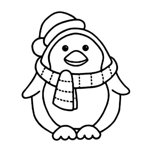 P For Penguin Coloring Page by Penguin With Scarft Coloring Pages Animal Coloring Pages