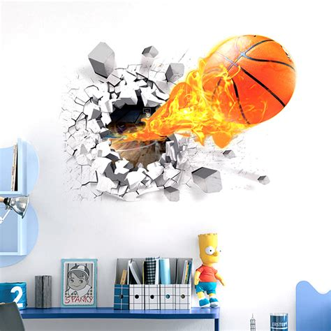 basketball wall murals removable 3d basketball wall sticker home decor room bedroom mural decals
