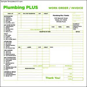 plumbing sheet template plumbing plus invoice template sle templates
