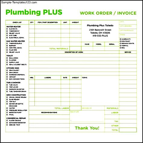 plumbing invoices plumbing invoice template plumbers