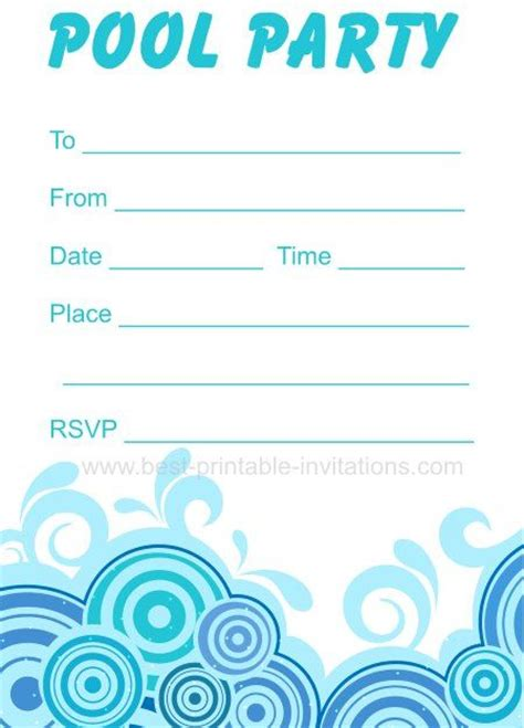 pool invitations free templates pool invitations free printable