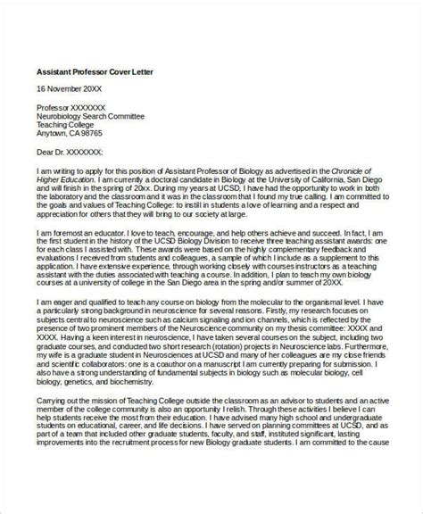 Professor Cover Letter by 8 Biology Cover Letters Free Word Pdf Format Free Premium Templates