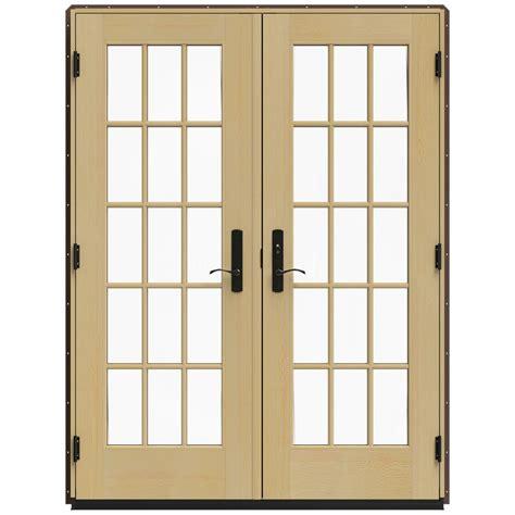 Brown Patio Doors Jeld Wen 60 In X 80 In W 4500 Brown Clad Wood Left 15 Lite Patio Door W Unfinished