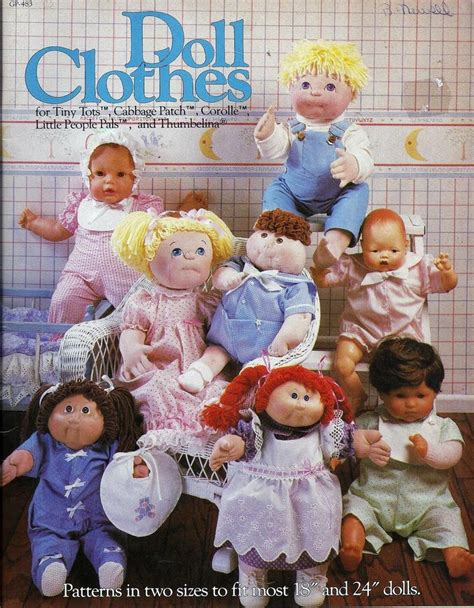 vintage doll clothes sewing pattern for cabbage patch tiny
