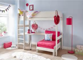 tinsley highsleeper with desk pink and white dreams