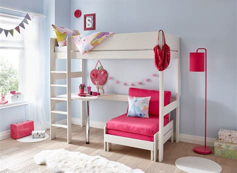 girls futon tinsley highsleeper with desk pink and white dreams