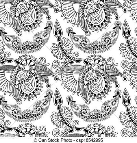cornici kashmir eps vectores de negro blanco florido seamless flor