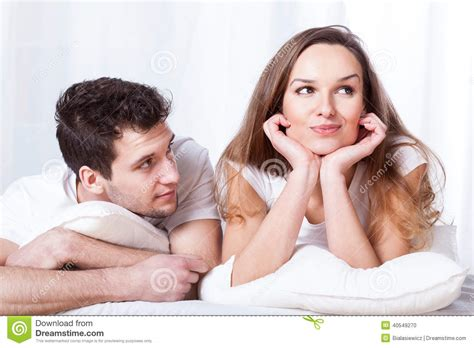 how to be confident in bed stubborn woman and loving man stock photo image 40549270