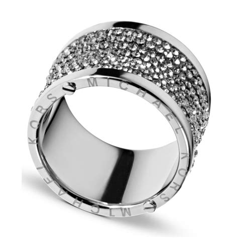 michael kors silver tone pave barrel ring in silver lyst