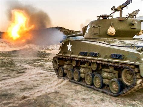 drive shoot drive a sherman tank fire it s 76mm cannon run cars over
