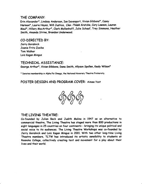 Roanoke College Letter Of Recommendation The Living Theatre Workshops Roanoke College