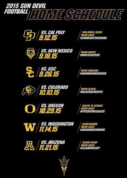 golds the fan schedule sun devils add white to football home color guide