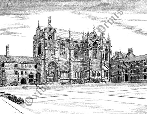 Drawing 1 In College by Keble College Chapel