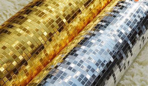 Backdrop Foil Tirai Foil Untuk Background modern 3d embossed golden mosaic wallpaper gold foil silver foil tv background wallpaper glitter