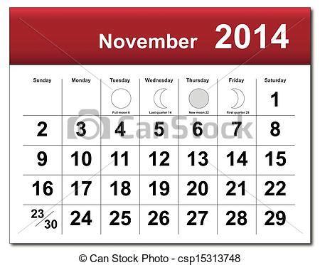 I Calendario Novembro 2014 Vetor Novembro 2014 Calend 225 Estoque De Ilustra 231 227 O