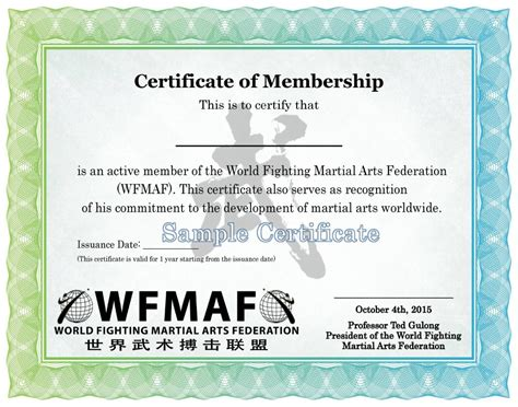 certification letter for membership wfmaf official website