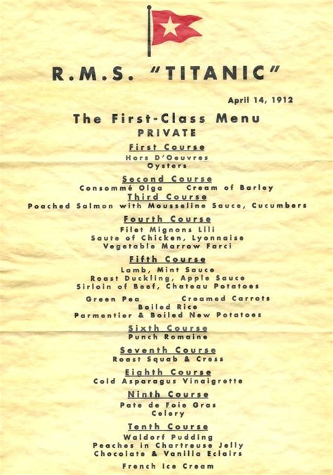 titanic third class menu titanic commemorations bring on sinking feeling for ducks