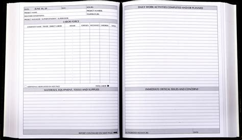 work journal template daily log construction project management