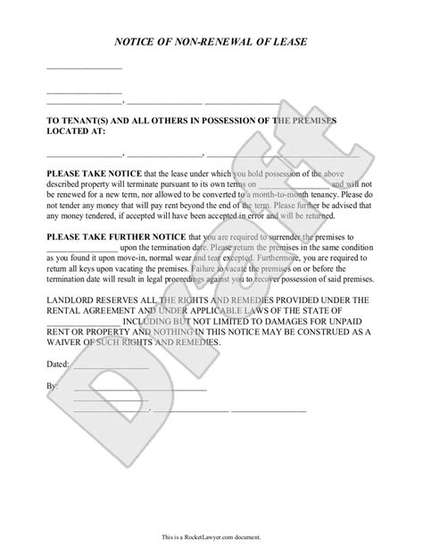 Lease Renewal Letter Exles landlord s notice of non renewal of lease to tenants with
