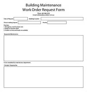 maintenance work order form template 15 work order templates free sle exle format