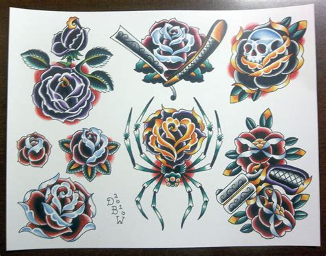 roses traditional tattoo flash sheet