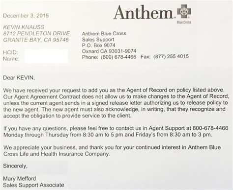 Insurance Broker Of Record Letters Anthem Blue Cross Denies Covered California Consumers Representation