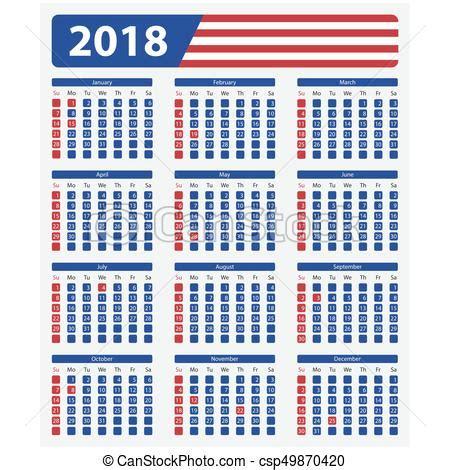 Calendario 2018 Oficial Calend 225 Oficial 2018 Eua Feriados Semana Eua