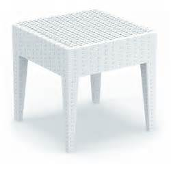 white resin patio tables miami wickerlook resin patio side table white 18 inch