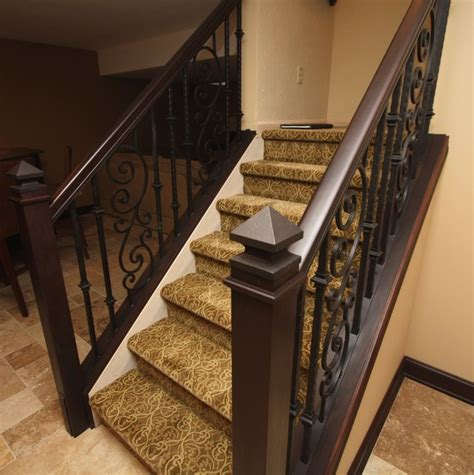 Wrought Iron And Wood Banisters Ornamental Iron Stair Rail Mediterranean Staircase