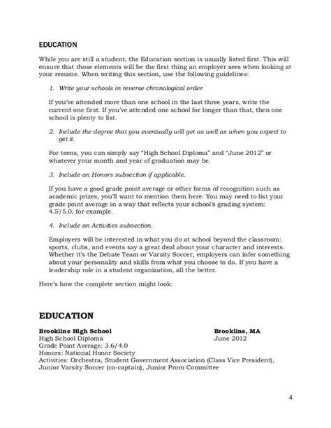 how to write your education on a resume teenlife guide to writing resumes