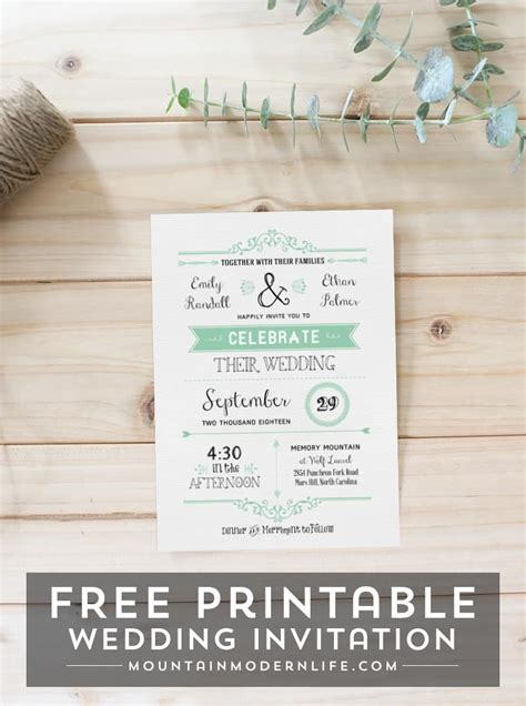 free wedding invitation template mountainmodernlife