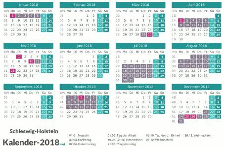 Kalender 2018 Mit Feiertagen Schleswig Holstein Ferien Schleswig Holstein 2018 Ferienkalender 220 Bersicht