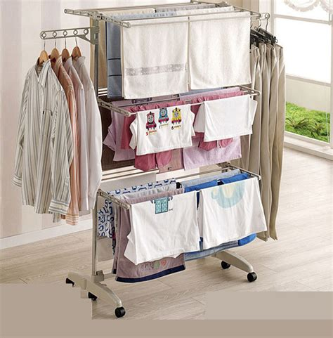 Drying Wardrobe by Folding 3 Layers Clothes Airers Drying Laundry Hanger Rack