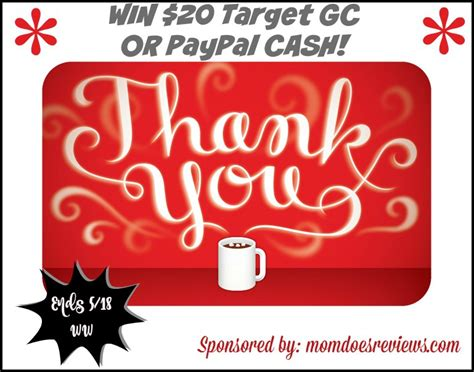 Thank You Giveaways - win 20 target gc or paypal cash ww ends 5 18