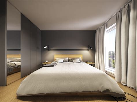 minimalist  simple bedroom design  gray shades