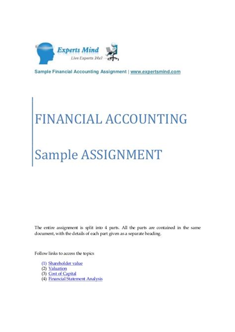 Homework Answers For Financial Accounting by Financial Accounting Homework