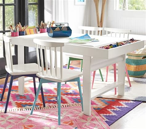 kids indoor table and chairs art play table pottery barn kids