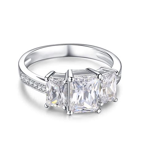 emerald cut white sapphire 925 sterling silver engagement