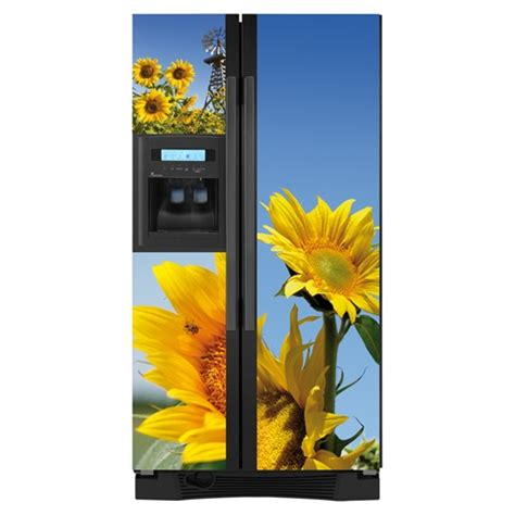 Primitive Country Kitchen - sunflower side by side custom refrigerator cover perfect appliance improvements
