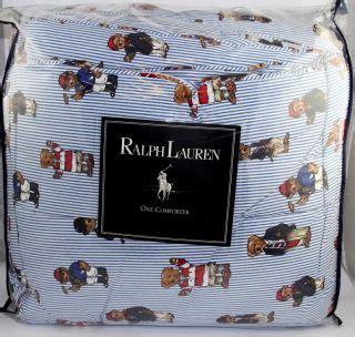 ralph lauren teddy bear comforter set aqua blue chocolate stripes suede 8pc queen comforter