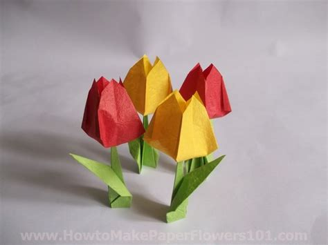 How To Make Paper Tulips - how to make a paper tulip flower step by step how to