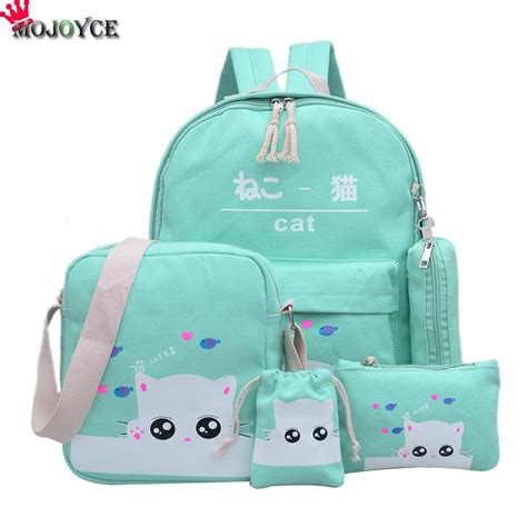 Backpack 3 Student Book canvas backpack big student book bag with purse laptop 3pcs set bag preppy style