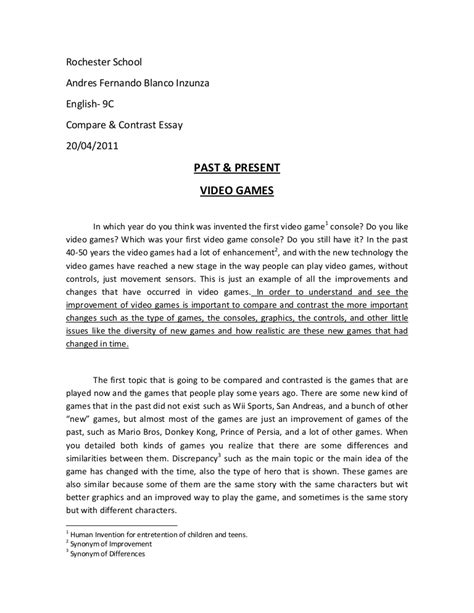compare  contrast essay video games
