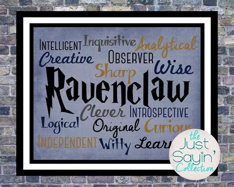 harry potter house traits harry potter ravenclaw print traits of the hogwarts house of