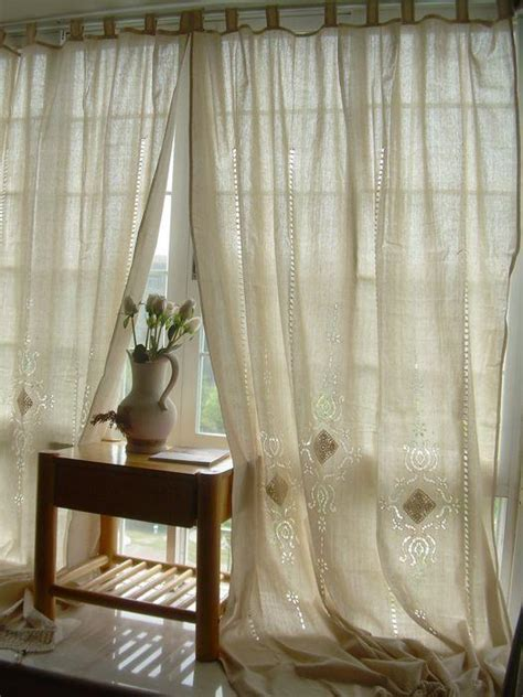 french country lace curtains 2 x tab top cotton linen crochet lace beige curtain panel