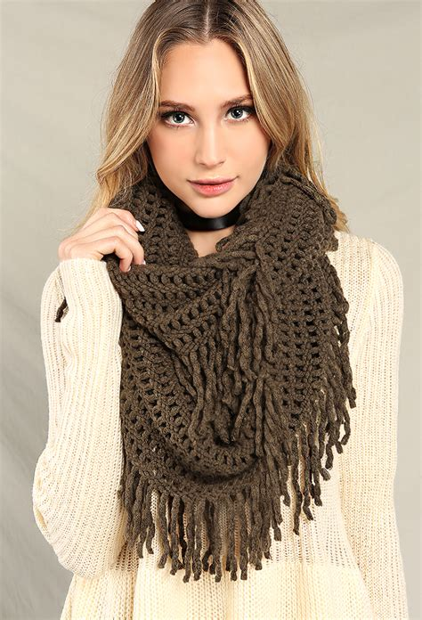 knitting pattern loose scarf loose knit fringe infinity scarf shop scarves at papaya