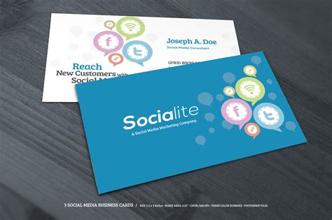 3 social media business cards business card templates on
